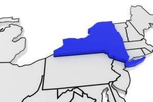 New York state highlighted in blue on 3D map of the United States